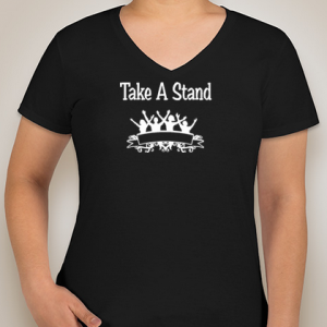 Take a stand:  Ladies V-Neck T-Shirt